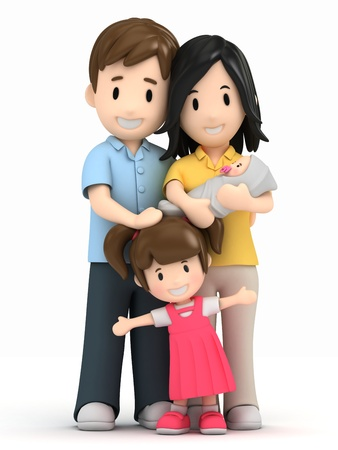 Photo for 3d render of a happy family - Royalty Free Image
