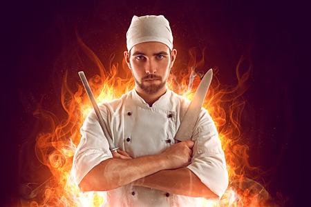 Foto de Serious Chef on fire - Imagen libre de derechos
