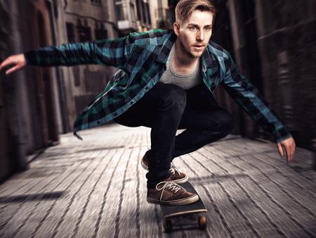 Photo pour Male Skateboarder - image libre de droit