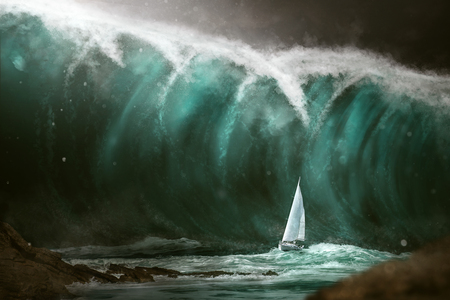 Photo pour Sailboat in front of a tsunami - image libre de droit