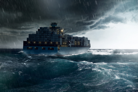 Photo for Cargo Ship in a Storm - Royalty Free Image