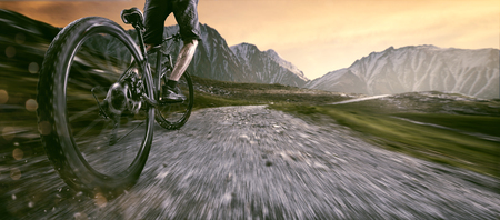 Photo pour Mountainbiker goes uphill - image libre de droit