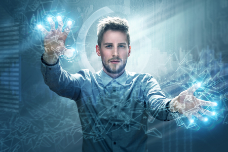 Photo pour Man working on a touchscreen interface - image libre de droit