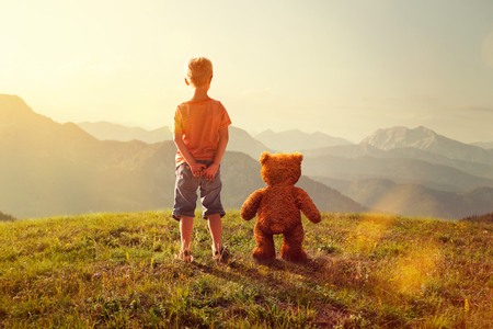Photo for Toddler and Teddy - Royalty Free Image