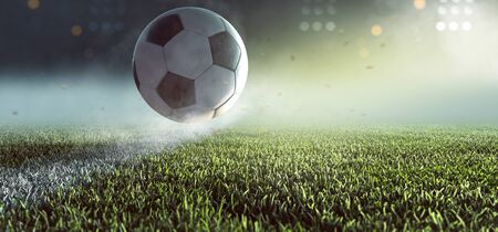 Photo for Soccer ball jumps over the line - Royalty Free Image