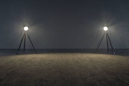 Photo for Stage lights in an empty room (3D Rendering) - Royalty Free Image