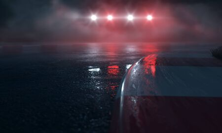 Photo for Wet Race Track with lights (3D Rendering) - Royalty Free Image