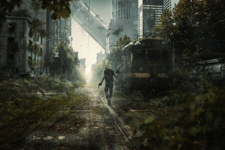 Foto de Survivor walks through an apocalyptic city scene - Imagen libre de derechos