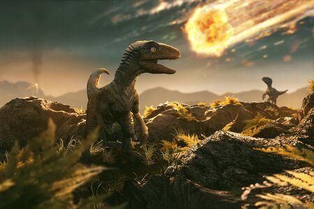 Photo pour Velociraptor sees incoming asteroid - image libre de droit