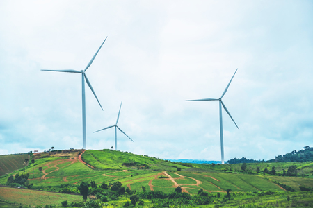 Foto de wind turbine Electrical generating. On the mountain - Imagen libre de derechos