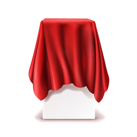 Illustration pour Vector realistic stand covered with red silk cloth isolated on white background. Empty podium, tribune with tablecloth for speech or presentation. Secret box, hidden under satin fabric with drapery - image libre de droit