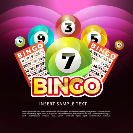 Ilustración de lottery banners with realistic icons balls coins lottery ticket and place for text - Imagen libre de derechos