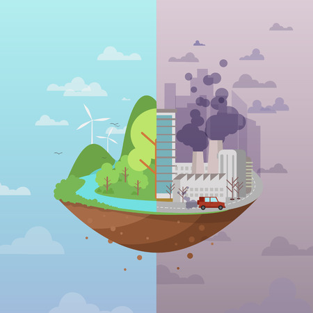 Illustration pour Ecology cartoon comparative concept with clean planet because of use alternative energy sources and dirty earth due to industrial environmental pollution vector illustration - image libre de droit