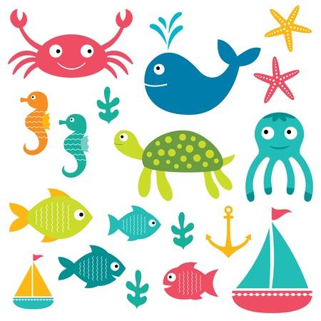 Illustration for Sea elements set - Royalty Free Image