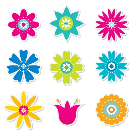 Illustration pour Colorful flowers set - image libre de droit