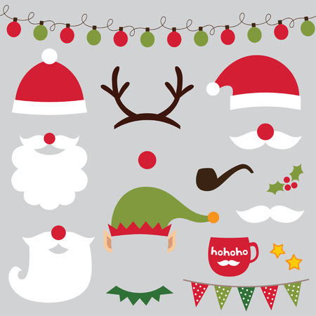 Christmas photo booth and scrapbooking set (Santa, deer, elf)