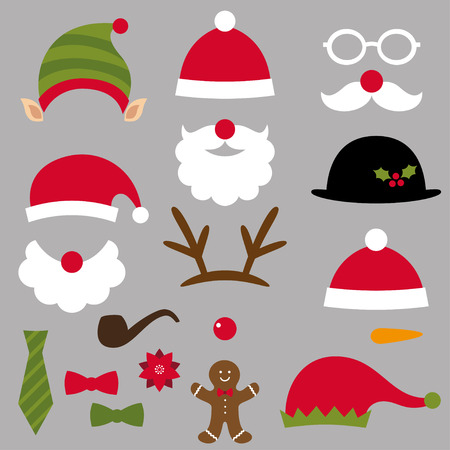 Christmas Santa, elf, deer and snowman design elements