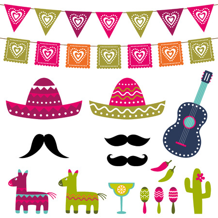 Illustration for Mexican party decoration and photo booth props set - Royalty Free Image