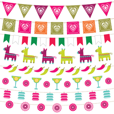 Illustration for Mexican party bunting flags set - Royalty Free Image