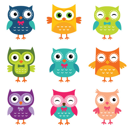 Illustration pour Isolated cute owls set - image libre de droit