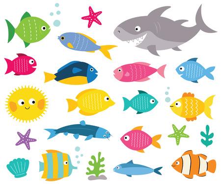 Ilustración de Cartoon fishes set, isolated design elements - Imagen libre de derechos