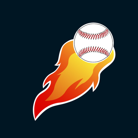 Illustration pour Isolated baseball emblem with a ball on fire, Vector illustration - image libre de droit