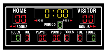 Illustration pour Isolated basketball scoreboard on a white background, Vector illustration - image libre de droit