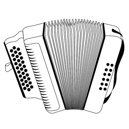 Illustration pour Isolated outline of an accordion, Vector illustration - image libre de droit