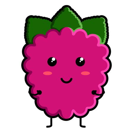 Illustration pour Cute raspberry emoticon - image libre de droit