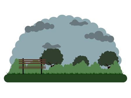Retro landscape of a park. Vector illustration design