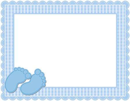 Ilustración de Baby Boy Gingham Frame - Imagen libre de derechos