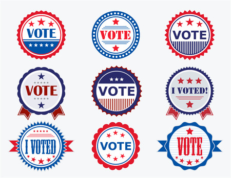 Illustration pour Election Voting Stickers and Badges in USA red, white and blue - image libre de droit