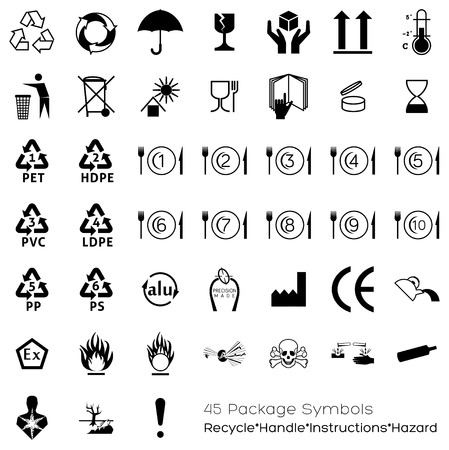 Illustration pour Useful symbols for industry that can be placed on packaging in o​r​der to provide information about the containing objects. Varied topics are covered: handling, storage, portions, expiry date, conformations, manufacturing.​ - image libre de droit