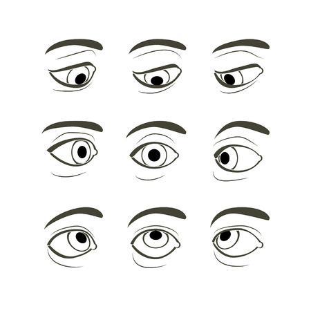 Ilustración de Front View of the Right Human Eye in Nine View Modes: Front, Sides (Left and Right), Up, Down, Up and Sides(Left and Right), Down and Sides(Left and Right) - Imagen libre de derechos