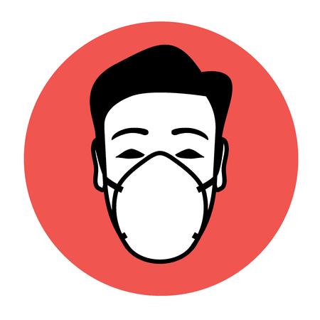 Ilustración de Protective mask wearing icon with potential of warning and advising - Imagen libre de derechos