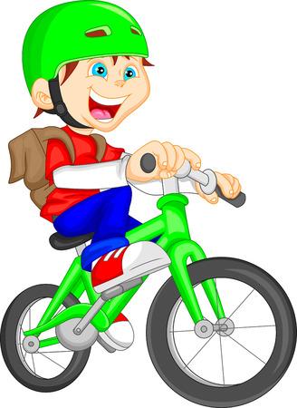 Illustration pour cute boy riding bicycle - image libre de droit