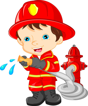 Illustrazione per young boy wearing Firefighter cartoon - Immagini Royalty Free