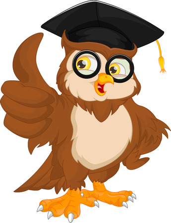 Ilustración de vector illustration of owl wearing graduation cap and thumb up - Imagen libre de derechos