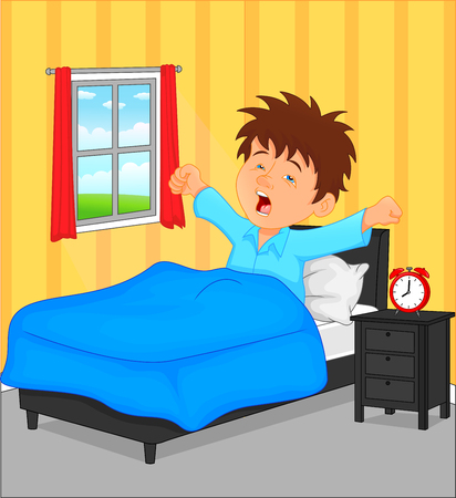Illustration for little boy wake up in the morning - Royalty Free Image