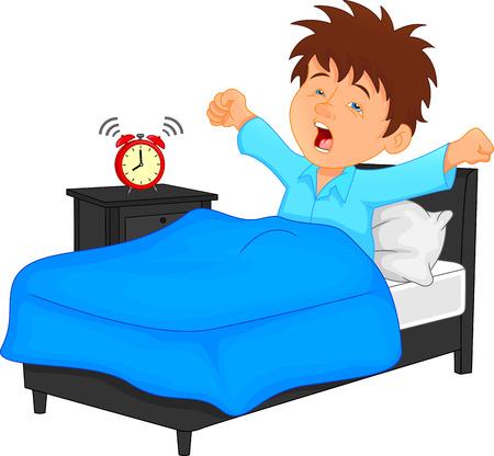 Ilustración de little boy wake up in the morning - Imagen libre de derechos
