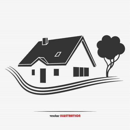 Illustration pour Vector illustration of an abstract countryside real estate for your design - image libre de droit