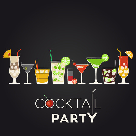 Vector set of different alcohol cocktails. Pina Colada, Dry Martini, Screwdriver, Mojito, Bloody Mary, Cosmopolitan, Margarita, Cuba Libre, Tequila Sunrise. Cocktail party invitation poster for your design
