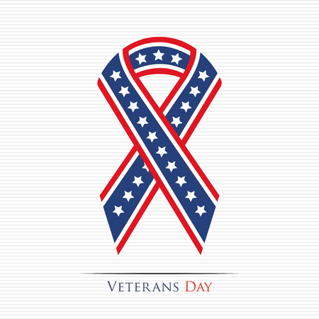 Illustration pour Happy Veterans Day ribbon - image libre de droit