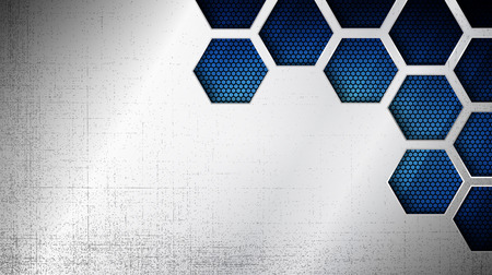 Illustration pour Vector illustration of abstract stainless steel metal panel with grunge overlay metallic texture and hexagonal grid pattern over blue light background for your design - image libre de droit