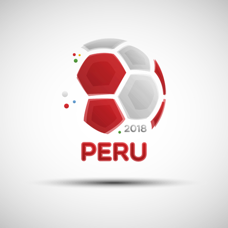 Illustration for Football championship banner. Flag of Peru. Vector illustration of abstract soccer ball with Peruvian national flag colors for your design - Royalty Free Image