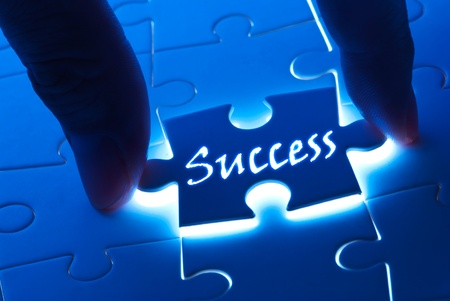 Photo for Success concept, Success word on puzzle piece with back light - Royalty Free Image