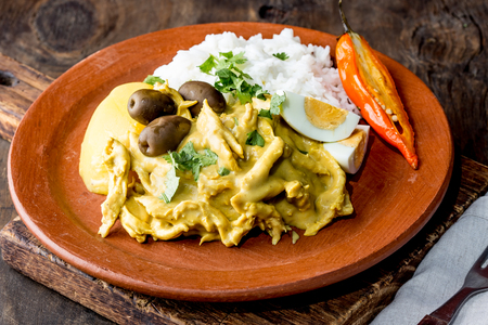 Photo pour MEXICAN AND PERUVIAN CUISINE. Aji de gallina. Chicken aji de gallina with olives egg and rice on clay plate. Tipical peruvian and mexican dish - image libre de droit