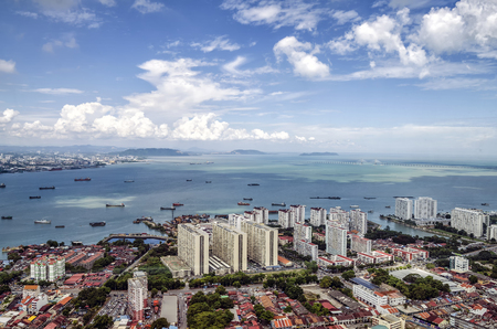 Photo for Aerial view of George Town from The Top Komtar in Penang, Malaysia. - Royalty Free Image