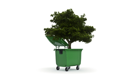 Photo pour Garbage containers with tree - image libre de droit