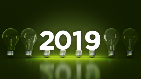 Foto de 2019 New Year sign inside light bulbs. 3D rendering - Imagen libre de derechos